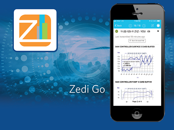 Zedi Go mobile app for smartphone for oil and gas production data